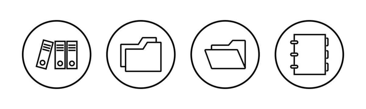 Archive folders icons set. binders vector icon