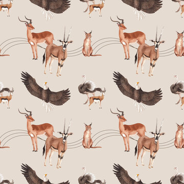Pattern seamless with savannah wildlife concept design watercolor illustration