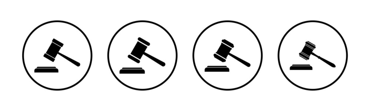 Gavel icons set. Hammer icon vector. Judge Gavel Auction Icon Vector. Bid