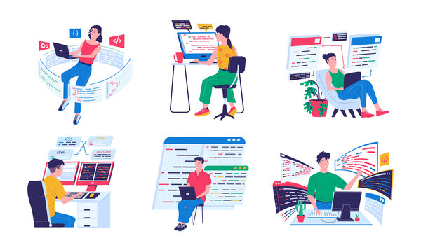 Programmer and coders. Backend software engineers working with computers and laptops in comfortable conditions. Cyber specialists programming or coding. Vector cartoon developers writing digital code