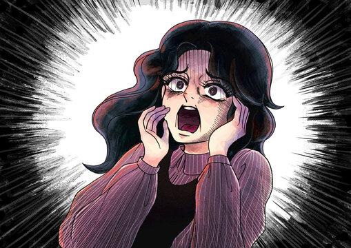 昭和のホラー漫画風・絶叫する女性・集中線