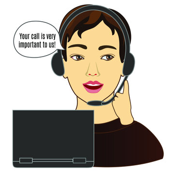 emoticon with a customer service man who wears a headset, wears headphones and a microphone, answers a customer's call by speaking Your call is very important to us