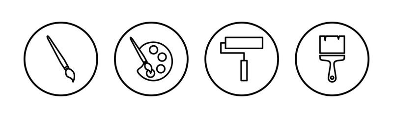 Obraz Paint icons set. Paint brush vector icon. Paint roller icon - fototapety do salonu