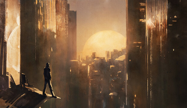 Fantastic illustration with sunset. futuristic man standing on the roof of skyscraper and looks at the cyberpunk city from above. Urban landscape