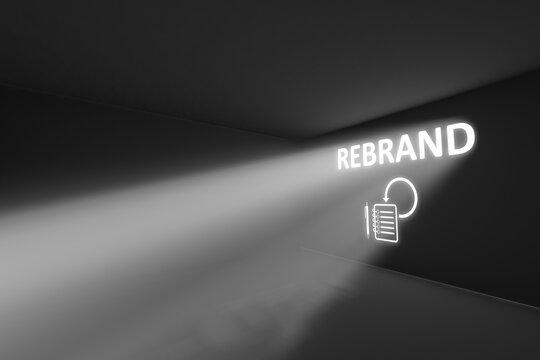 REBRAND rays volume light concept 3d illustration