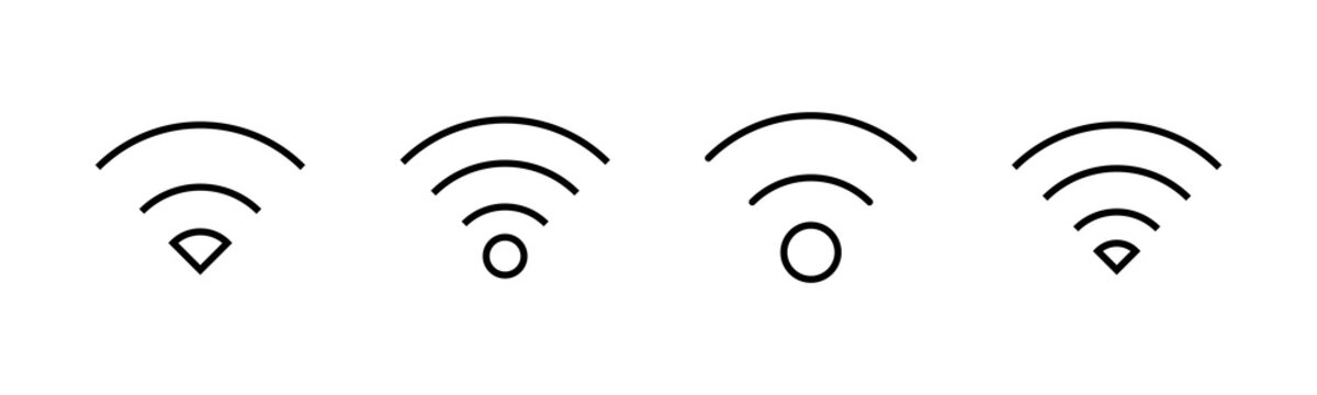 WIFI Icons set. signal vector icon. Wireless and wifi icon or sign for remote internet access