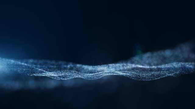 Dark blue and glow particle abstract background. 3D rendering