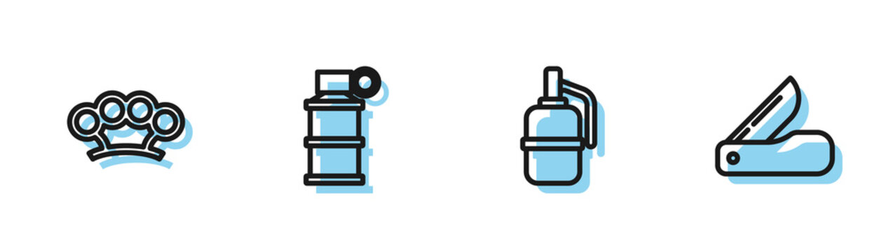 Set line Hand grenade, Brass knuckles, smoke and Swiss army knife icon. Vector.