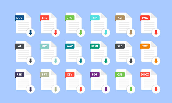 Set of different file formats. Download file. File with and a down arrow sign. Loading document concept. Download buttons for web site or app. Document types in flat style: pdf, doc, png, jpg, psd.