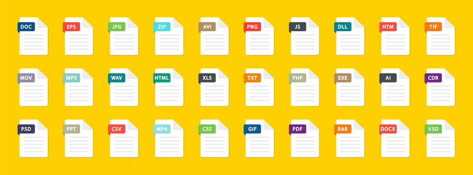 File type icons. Big set of pdf, doc, excel, png, jpg, psd, gif, csv, xls, ppt, html, txt. Collection colored icons for download on computer. Graphic templates for ui. Document types in flat style