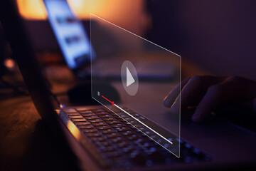 Fototapeta streaming online, watching video on internet, live concert, show or tutorial obraz