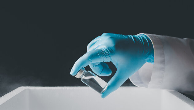 Doctor wear hand in white gloves holding liquid vaccines from storage box,Concept fight against virus covid-19 corona virus