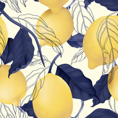 Fruit seamless pattern, pastel lemons and blue leaves on bright yellow