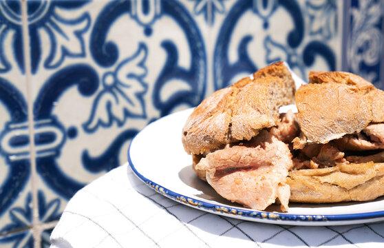 Traditional portuguese Sandwich bifana
