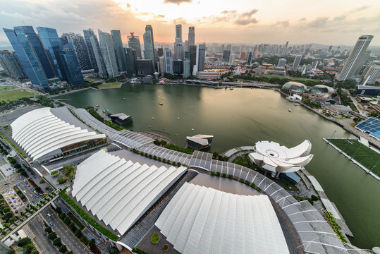 Aerial view of Marina Bay and skyscrapers at sunset, Singapore