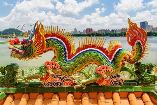 Detail of the Dragon and Tiger Pagodas at Lotus Lake