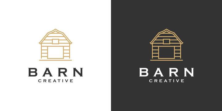 Barn Farm Minimalist  Line Art Logo design
