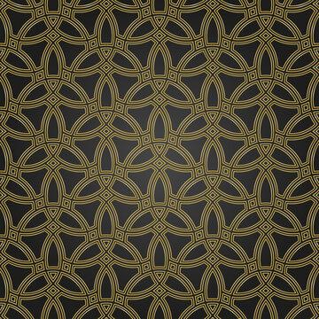 Seamless ornament. Modern black and golden background. Geometric modern pattern