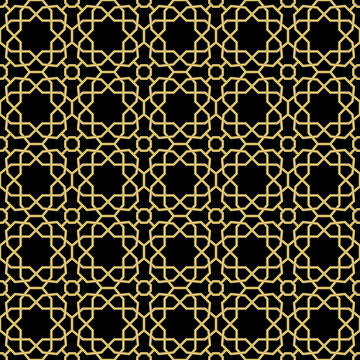 Seamless black and golden background for your designs. Modern ornament. Geometric abstract pattern