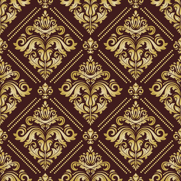 Classic seamless pattern. Damask orient golden ornament. Classic vintage background. Orient ornament for fabric, wallpaper and packaging