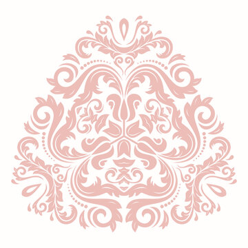 Elegant vintage triangular pink ornament in classic style. Abstract traditional pattern with oriental elements. Classic vintage pattern