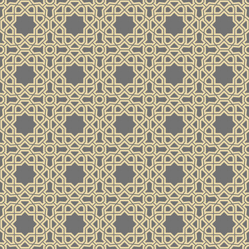 Seamless background for your designs. Modern ornament. Geometric abstract golden pattern