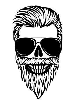 Bearded male skull silhouette. Boho skull dad life. Vector illustration. Brutal barber tattoo. Hipster print. skull man in glasses.