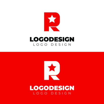 r and star logo design minimal logotype vector template
