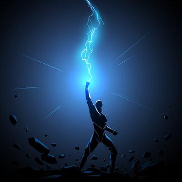 Geometric man silhouette with lightning