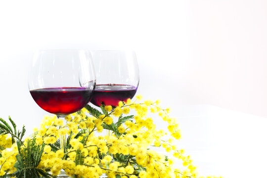 branch of mimosa and two glasses of red wine on a white background