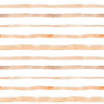 Seamless pattern with beige stripes. Watercolor hand-drawn painting.Isolated on white. Perfect for printing on the fabric, design package and cover.