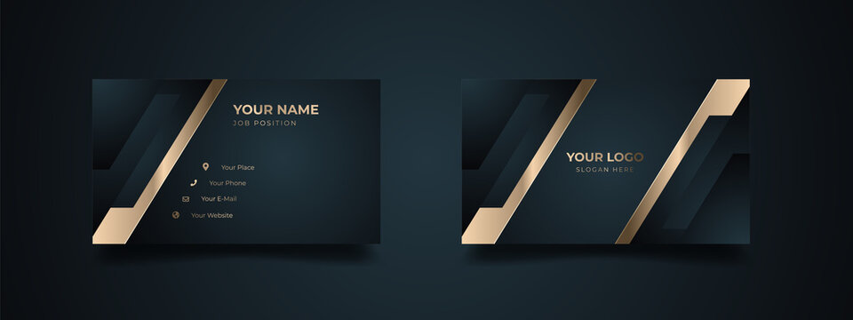 Luxury modern business card print template. Creative and clean executive business class. Elegant premium design with dark background and golden effect.
