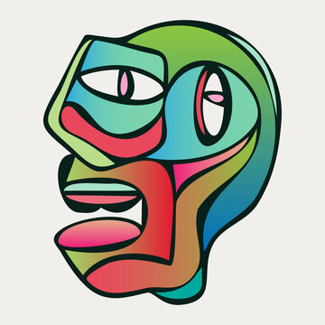 Abstract design of surreal face portrait. Hand-drawn face with a hint of cubism in funky colors. Concept art can be used for fashion, beauty treatment, health, and mental wellbeing.