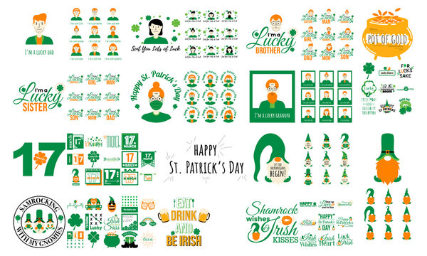 Minimalist illustration set for st patrick's day, gnome, family character, lucky, irish , shamrock, typography greeting card template, lettering slogans for print, vector template ai, eps10 and svg