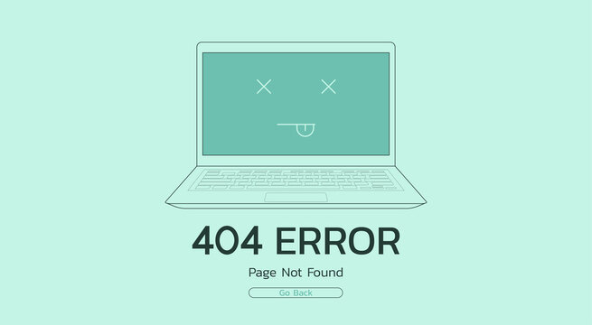 page not found and error 404 unavailable website on laptop concept, vector flat illustration