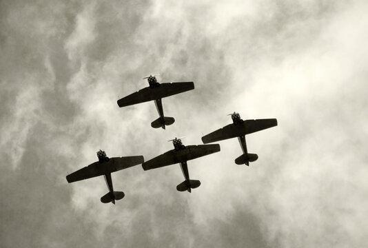 World War II airplane on formation