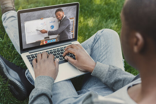 Distance Learning. Black Guy Having Online Lesson With Business Coach, Collage