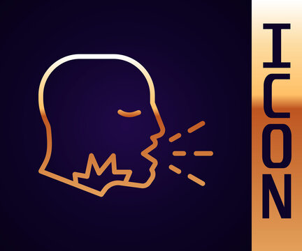 Gold line Man coughing icon isolated on black background. Viral infection, influenza, flu, cold symptom. Tuberculosis, mumps, whooping cough. Vector..