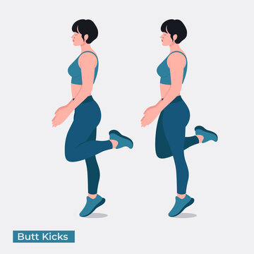 Butt Kicks exercise, Women workout fitness, aerobic and exercises. Vector Illustration.