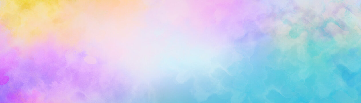 Colorful watercolor background of abstract sunset sky with puffy clouds in bright rainbow colors of blue purple yellow and soft white center blur