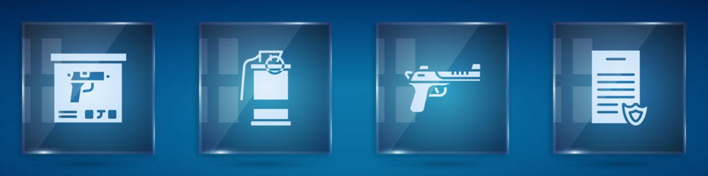 Set Military ammunition box, Hand smoke grenade, Desert eagle gun and Firearms license certificate. Square glass panels. Vector.