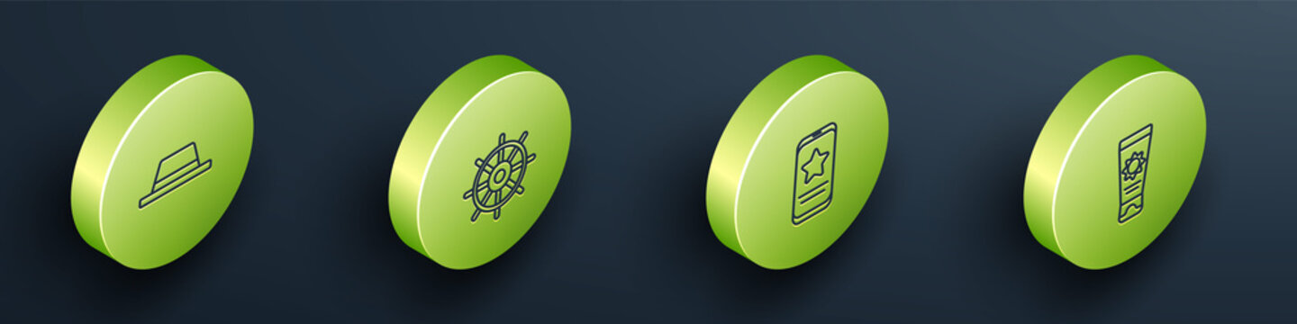 Set Isometric Man hat with ribbon, Ship steering wheel, Mobile review rating and Sunscreen cream tube icon. Vector.
