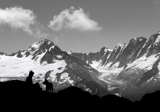 Chamonix silhouette (black and white)