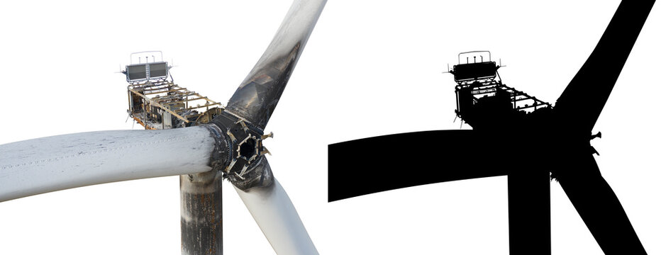 Burnt wind turbine on a white background with a black mask.