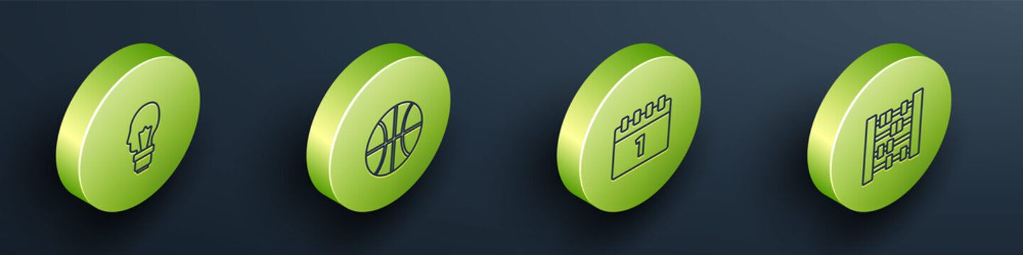 Set Isometric Light bulb with concept of idea, Basketball ball, Calendar first september date and Abacus icon. Vector.