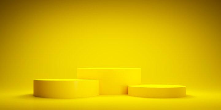 Abstract geometric yellow winner podium - 3d illustration