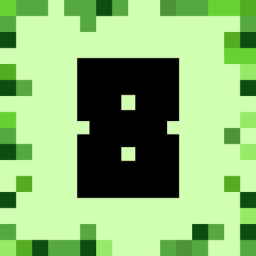 number 8 pixel block