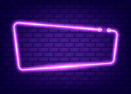 Neon rectangle frame or neon lights sign. Vector illustration.