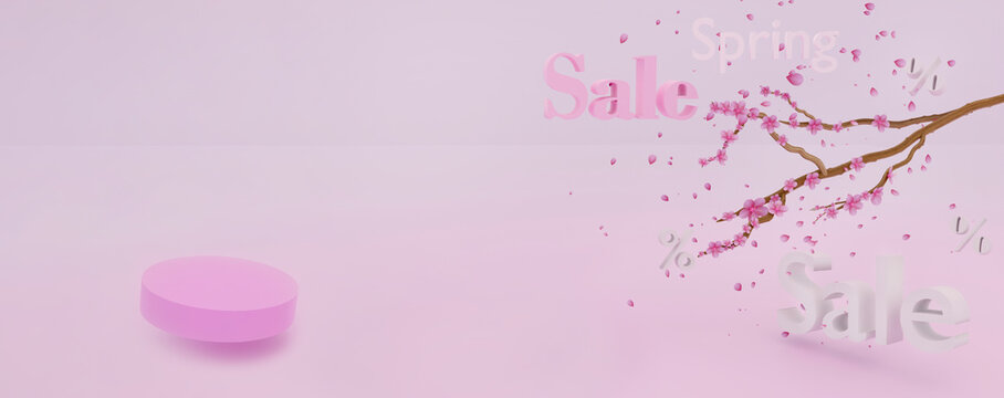 Abstract spring scene with geometrical levitation podium and blooming sakura tree over pink background. Abstract background. Scene to show any products for advertising. 3d render. Banner size