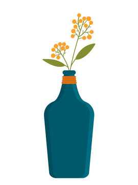 illustration of a vase and sprigs of miosis. Flat illustration of vase and flower isolated on white background.
